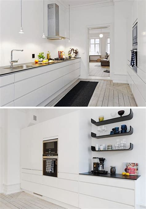 side kitchen  clean white great contrast  black