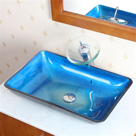 blue glass vessel sinks for bathrooms cae blue tempered glass vessel sink contemporary