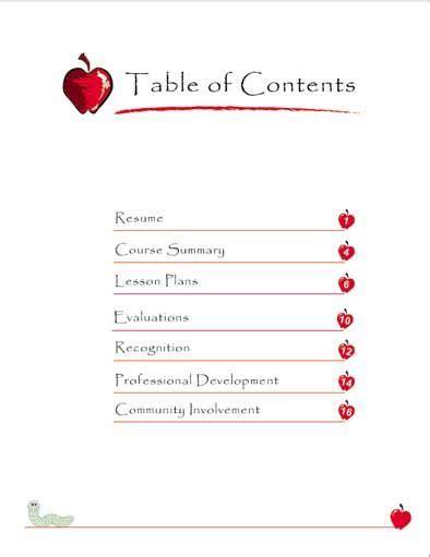 Professional Teaching Portfolio Template by Teaching Portfolio Table Of Contents Interviews