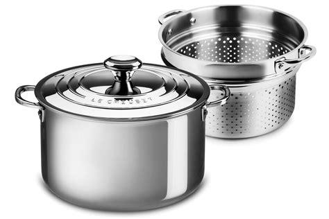 le creuset stainless steel stockpot  pastacolander insert  quart cutlery