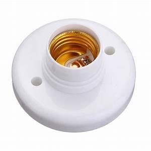 E27 Screw Base Round Plastic Light Bulb Lamp Socket Holder