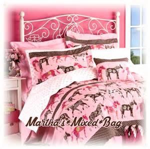 western horse mustang pony flower girls pink comforter set