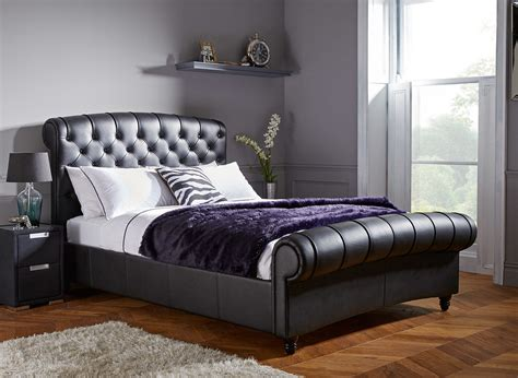 Leather Headboard King Bed Renaissance Carved Grey King