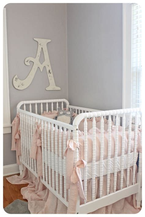 light pink and gray baby nursery paint color
