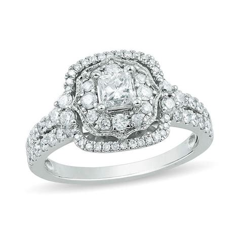 1 1 4 ct t w princess cut ornate cushion frame vintage style engagement ring in 14k