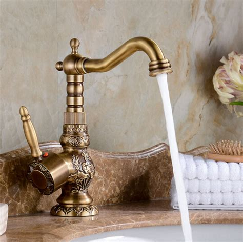vintage kitchen sink faucets high quality luxury antique bronze copper carving deck 6831