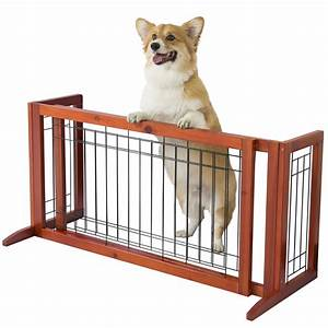 Free standing indoor adjustable dog gate solid wood for Dog fence for inside house