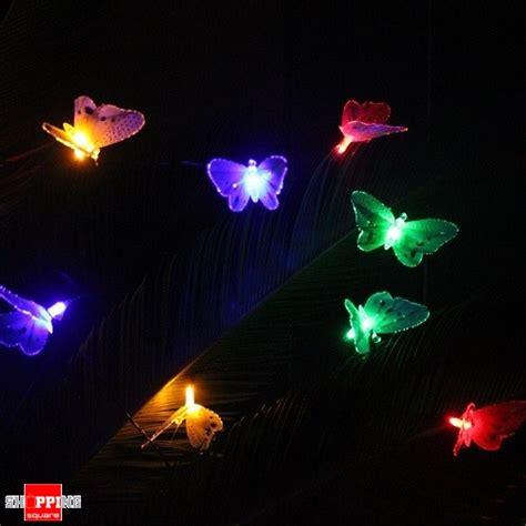 10 led solar powered butterfly fiber optic string