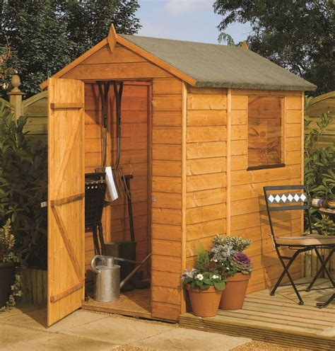 shiplap shed 6x4 this rowlinson 6x4 apex garden shed is built using 12mm