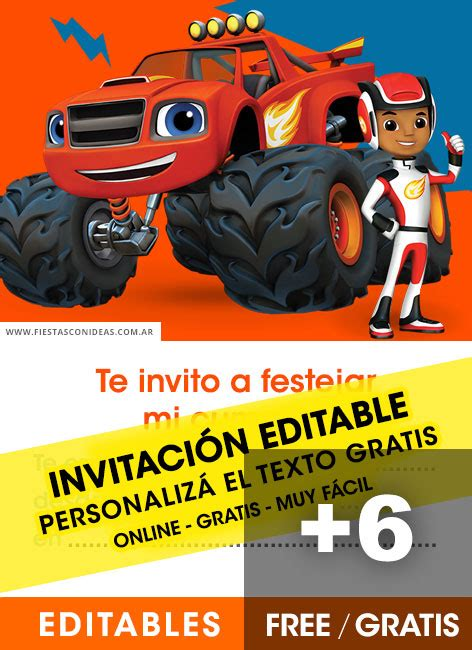 invitaciones de blaze   monster machines gratis