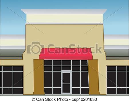 single storefront red awning exterior view   single
