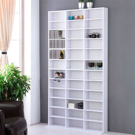 Dvd Bookcase cd dvd media storage shelf rack unit adjustable book