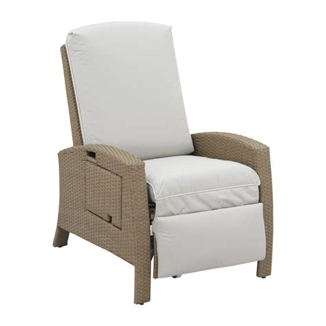 recliner chair cushions outdoor outsunny outdoor rattan wicker recliner lounge chair with cushion and side tray beige and cream