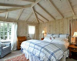 cottage bedroom with paneled walls and ceilings - Hooked