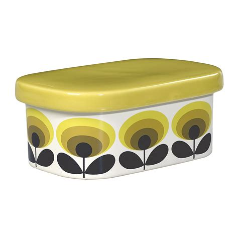 kitchen retro accessories buy orla kiely 70s oval flower butter dish yellow amara 2502