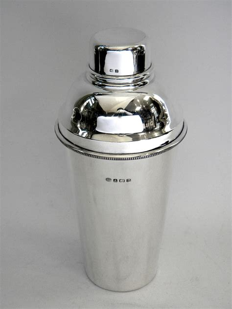 vintage cocktail vintage solid silver cocktail shaker birmingham 1928 by
