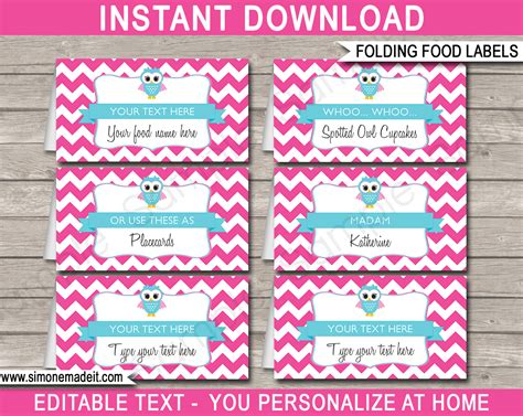 owl food labels place cards pink girls owl theme