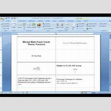 Making Flash Cards Using Msword (#2 Of 2) Youtube