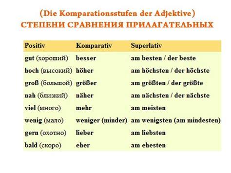 die komparationsstufen der adjektive ich liebe deutsch