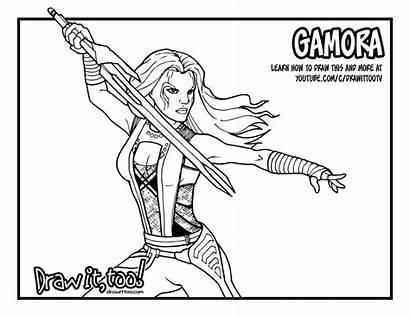 Galaxy Coloring Gamora Pages Drawing Guardians Draw
