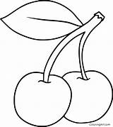 Coloring Pages Fruit Cherry Easy Printable Vector Cartoon Simple Paper Print Device Outline Strawberry Drawing Cute Any Drawings Format Books sketch template