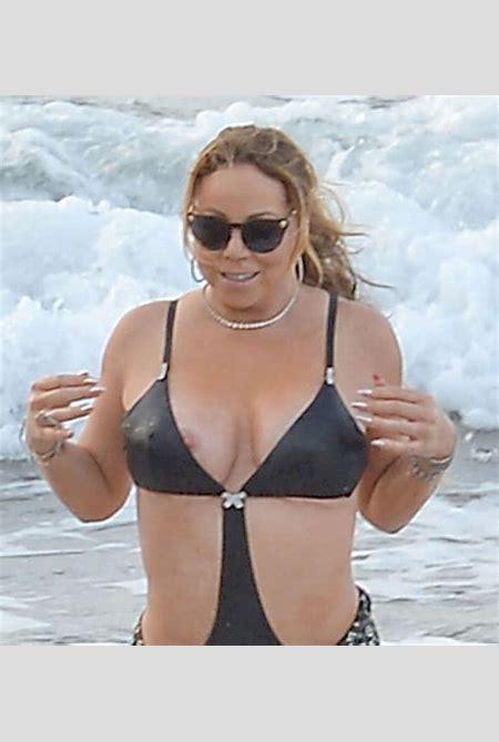 Mariah Carey Nipple Slip from her Black Bathing Suit