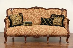 Sold, -, French, Style, 1930, U0026, 39, S, Carved, Vintage, Sofa, New, Upholstery