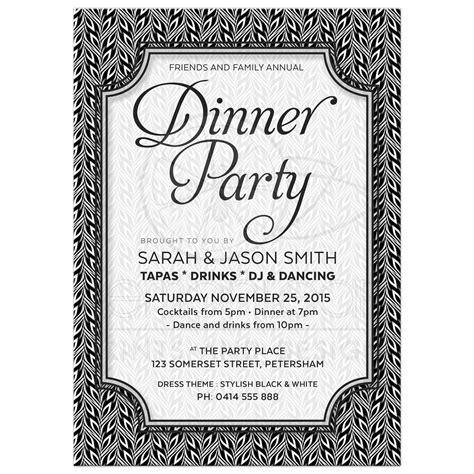 black  white dinner party invitation simply stylish