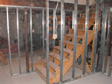 Metal Studs To Frame The Stairs And Partition Wall In