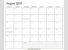 August 2019 Calendar Templates