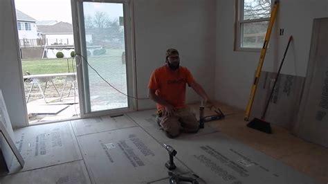 installing cement board subfloor prepping for tile floor