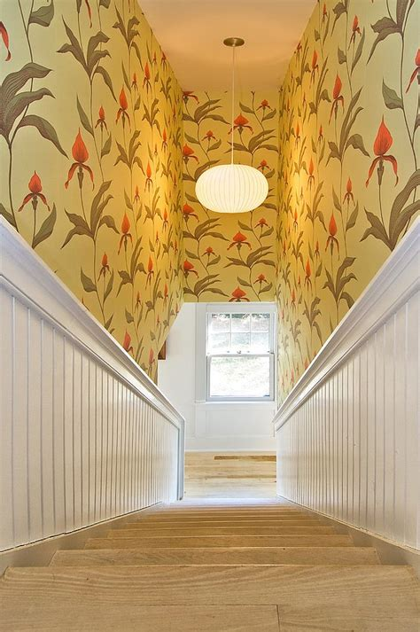 Staircase And Stairwell by 16 Fabulous Ideas That Bring Wallpaper To The Stairway