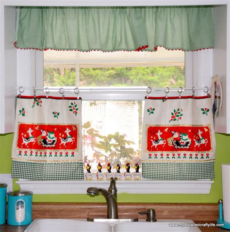 vintage cafe curtains diy upcycled vintage tea towel curtains my so 3167