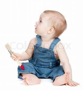 Wann Lernen Babys Sitzen : small baby worker with paint brush stock photo colourbox ~ Watch28wear.com Haus und Dekorationen