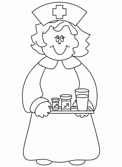 Coloring Nurse Pages Cartoon Clipart Doctor Library