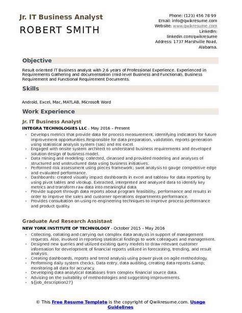 business analyst resume exle business analyst resume