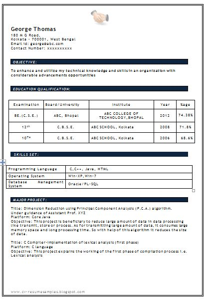 resume pattern for freshers commonpence co