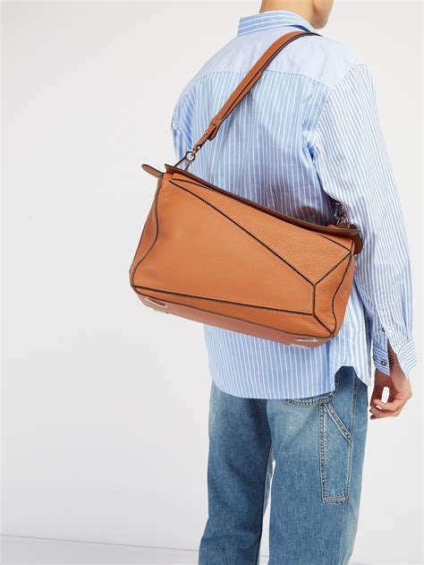 loewe puzzle extra large grained leather bag  brown  men lyst