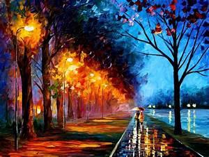 Arte M Gallery : alley by the lake 2 palette knife oil painting on canvas by leonid afremov size 30x40 ~ Indierocktalk.com Haus und Dekorationen