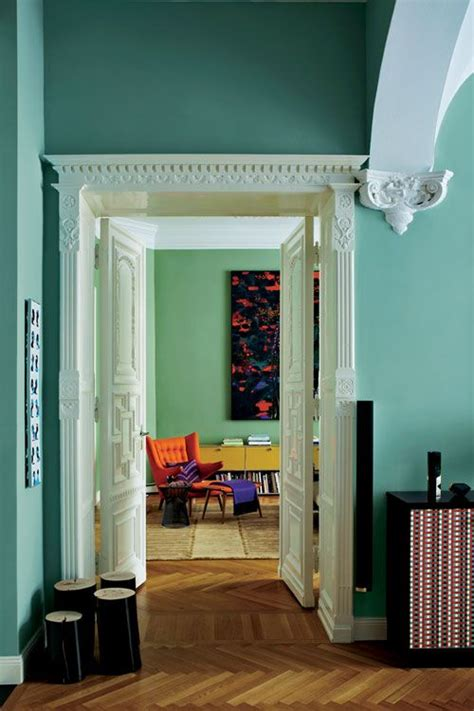 with walls in dix blue and brekfast room green