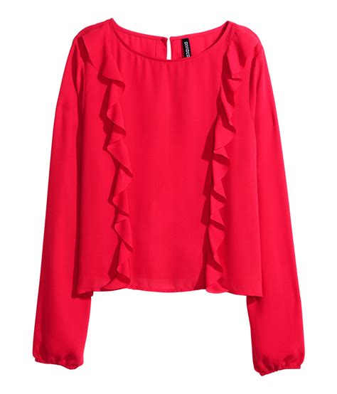 h m blouses h m frilled blouse in lyst