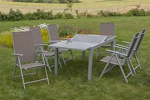 Merxx Gartenmöbel Set : merxx gartenm bel set amalfi 7 teilig ausziehtisch 160 220 x 90 cm silber taupe klappsessel ~ Frokenaadalensverden.com Haus und Dekorationen