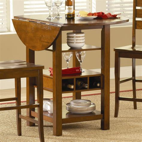 Round Counter Height Drop Leaf Dining Table With Storage