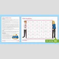 Maths Vocabulary Game  Vocab, Keywords, Game, Algebra, Number