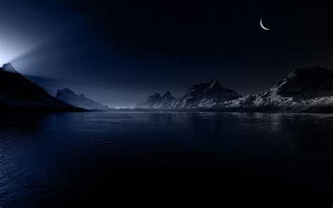 mountains moon lights river landscape nature