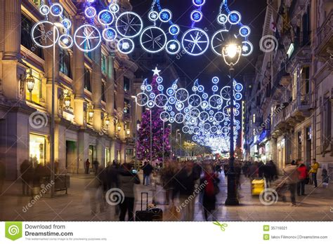 Christmas Decorations On Portal Del Angel. Barcelona