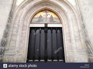Door of Wittenberg Castle Church where Martin Luther ...