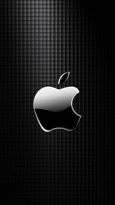 sleek apple logo with black grid background wallpaper