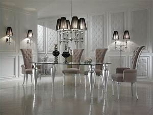 Black And White Dining Room Decor With Italian Glass Top