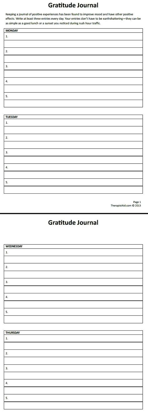 gratitude journal template gratitude journal therapist aid education